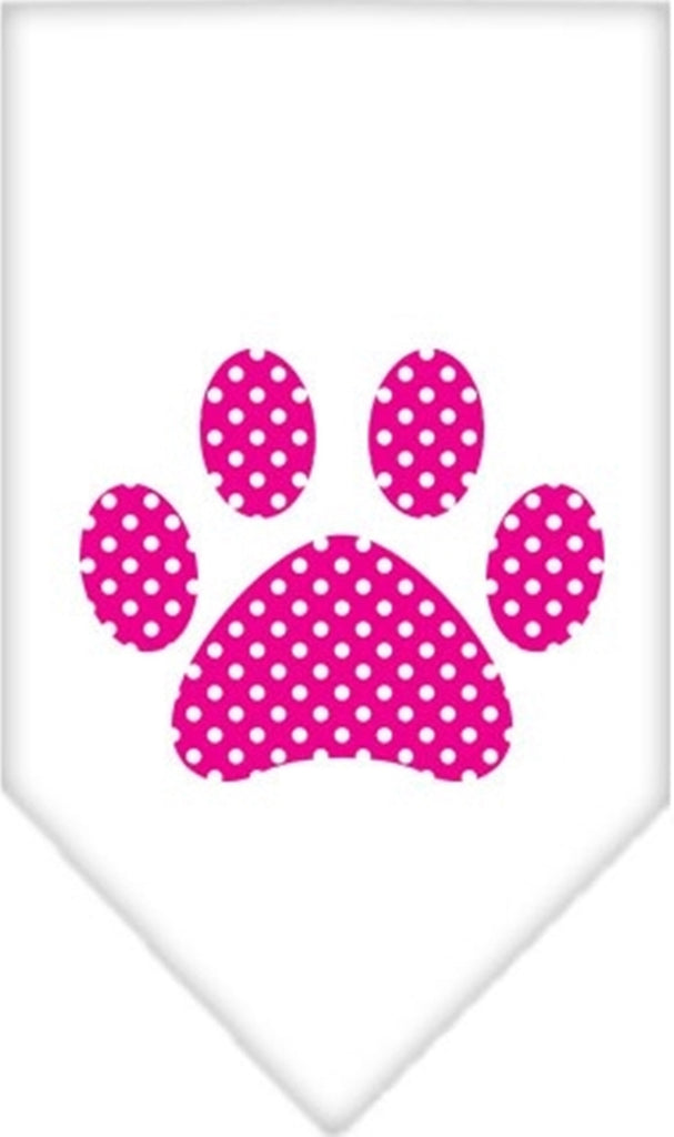 Pink Swiss Dotted Paw Bandana Scarf in color White - Daisey's Doggie Chic