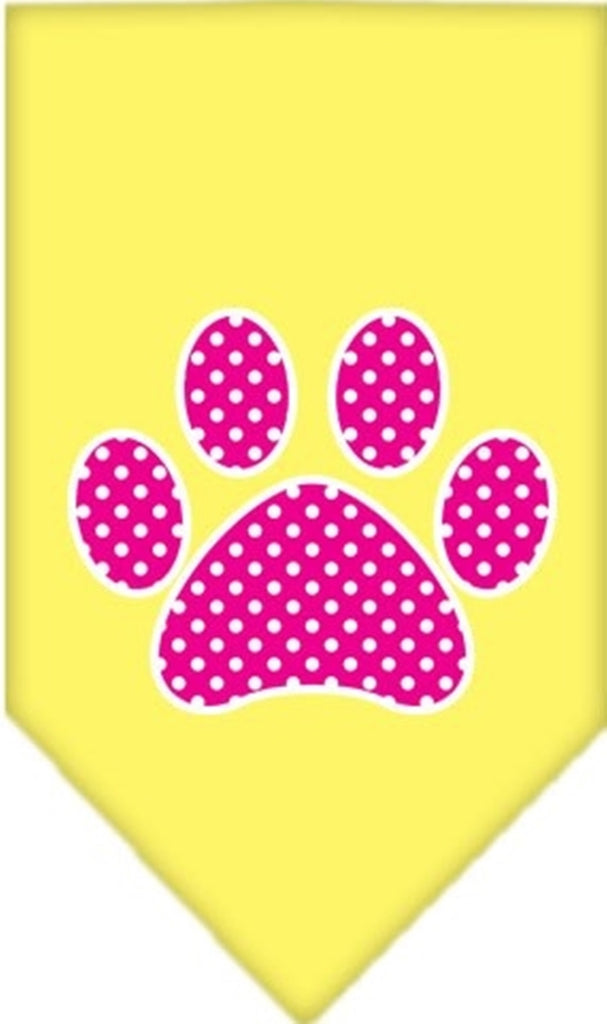 Pink Awareness Swiss Dot Paw Bandana Scarf in color Sunny Yellow - Daisey's Doggie Chic - 1