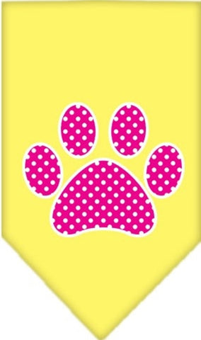Pink Swiss Dotted Paw Bandana Scarf in color Sunny Yellow - Daisey's Doggie Chic