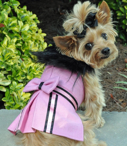 Pink Tuxedo Stripe Wool & Minky Fur Harness Jacket with Matching Leash - Daisey's Doggie Chic
