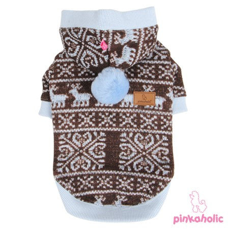 Pinkaholic NY Winter Snowflakes & Reindeer Hooded Sweater color Blue/Brown - Daisey's Doggie Chic