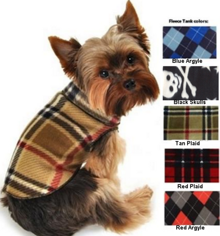 Cozy Classic Plaid Fleece Pullover Tank in Assorted Colors - Daisey's Doggie Chic - 1