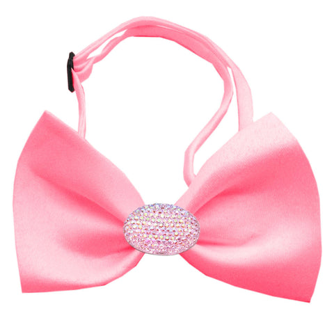 Classic Oval Crystal Satin Bow Tie for Small Dogs in Color Bubble Gum Pink - Daisey's Doggie Chic