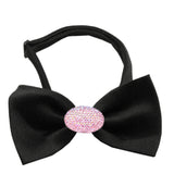 Classic Oval Crystal Satin Bow Tie for Small Dogs in Color Black - Daisey's Doggie Chic - 1