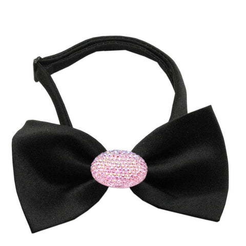 Classic Oval Crystal Satin Bow Tie for Small Dogs in Color Black - Daisey's Doggie Chic