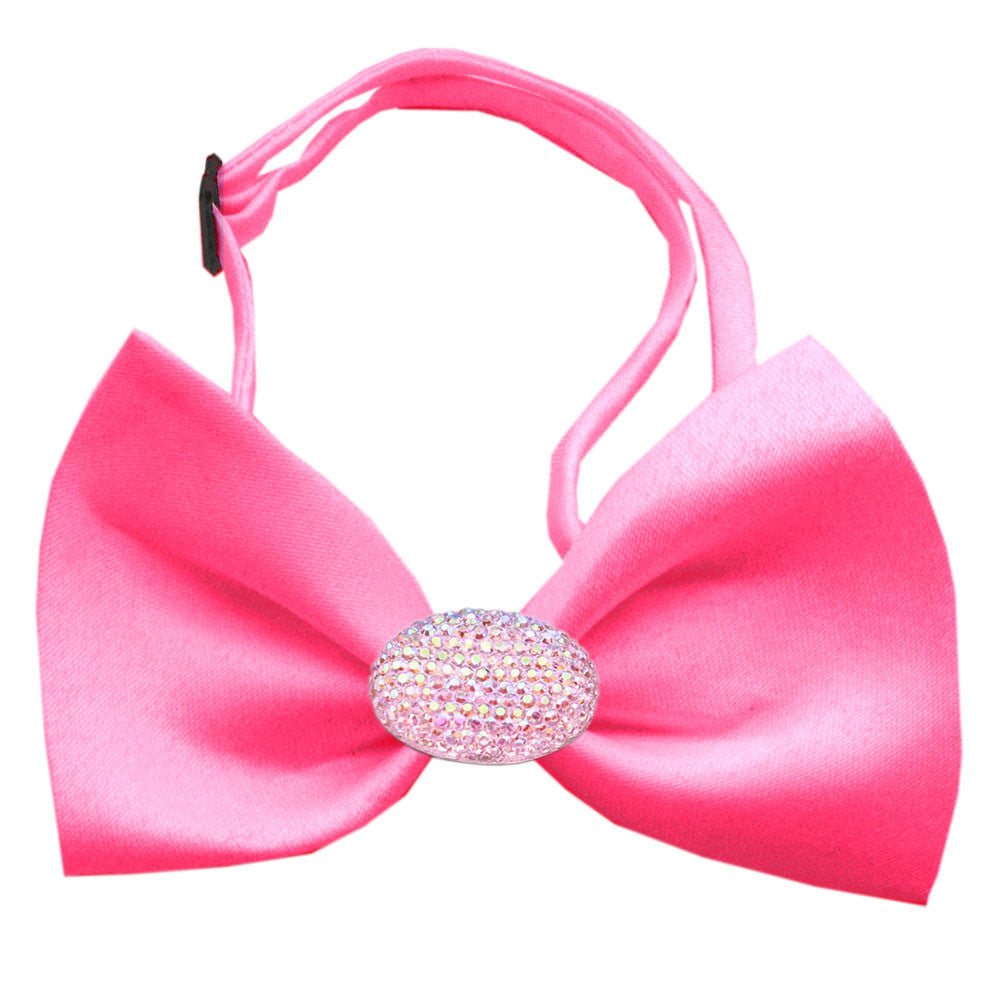 Classic Oval Crystal Satin Bow Tie for Small Dogs in Color Hot Pink - Daisey's Doggie Chic