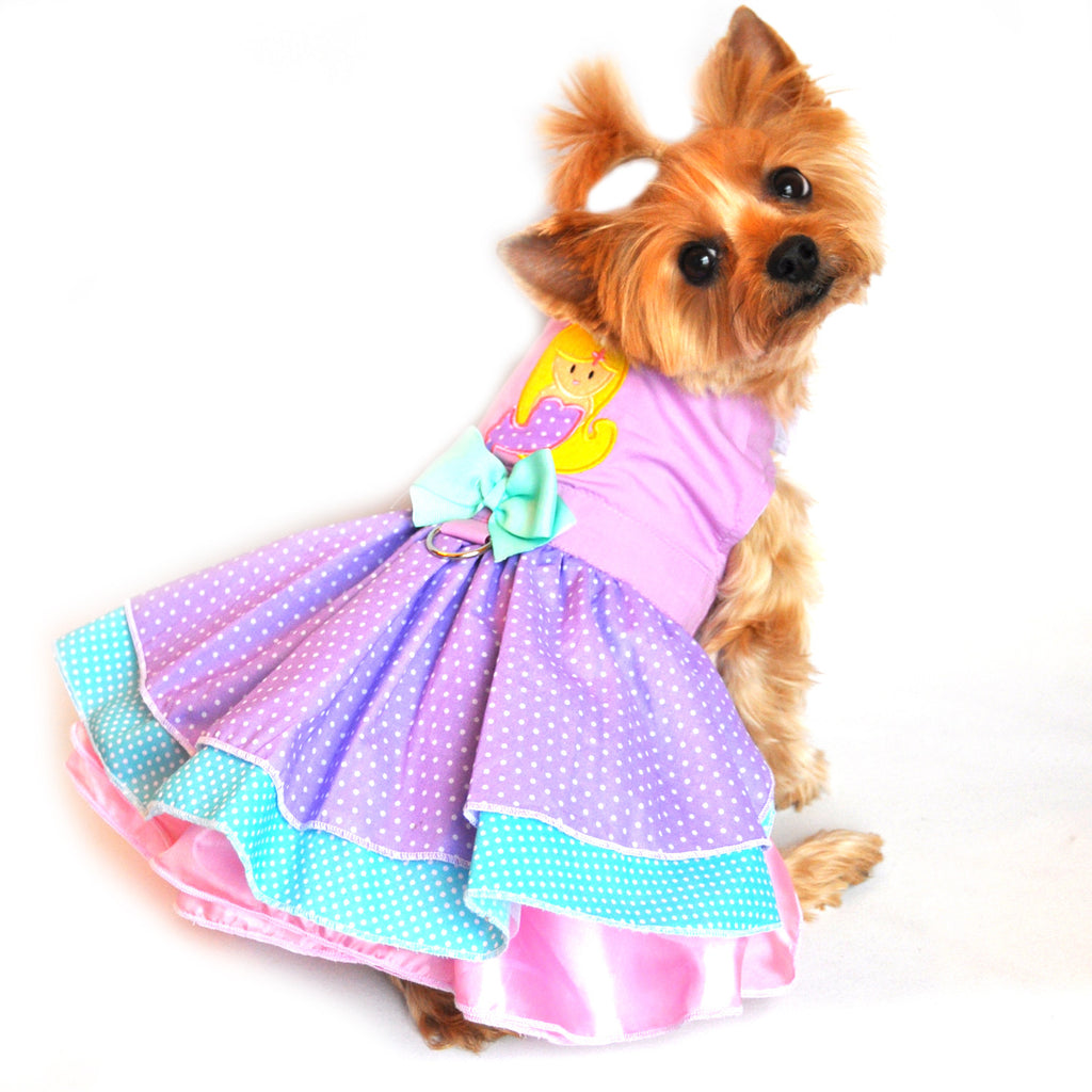 "Doggie Design ""Polka Dot Mermaid"" Party Harness Dress in Lavender Pink Multi - Daisey's Doggie Chic"