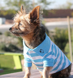 Classic Striped Polo Shirt in color Sky Blue - Daisey's Doggie Chic