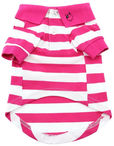 Classic Striped Polo Shirt in color Pink Stripes - Daisey's Doggie Chic