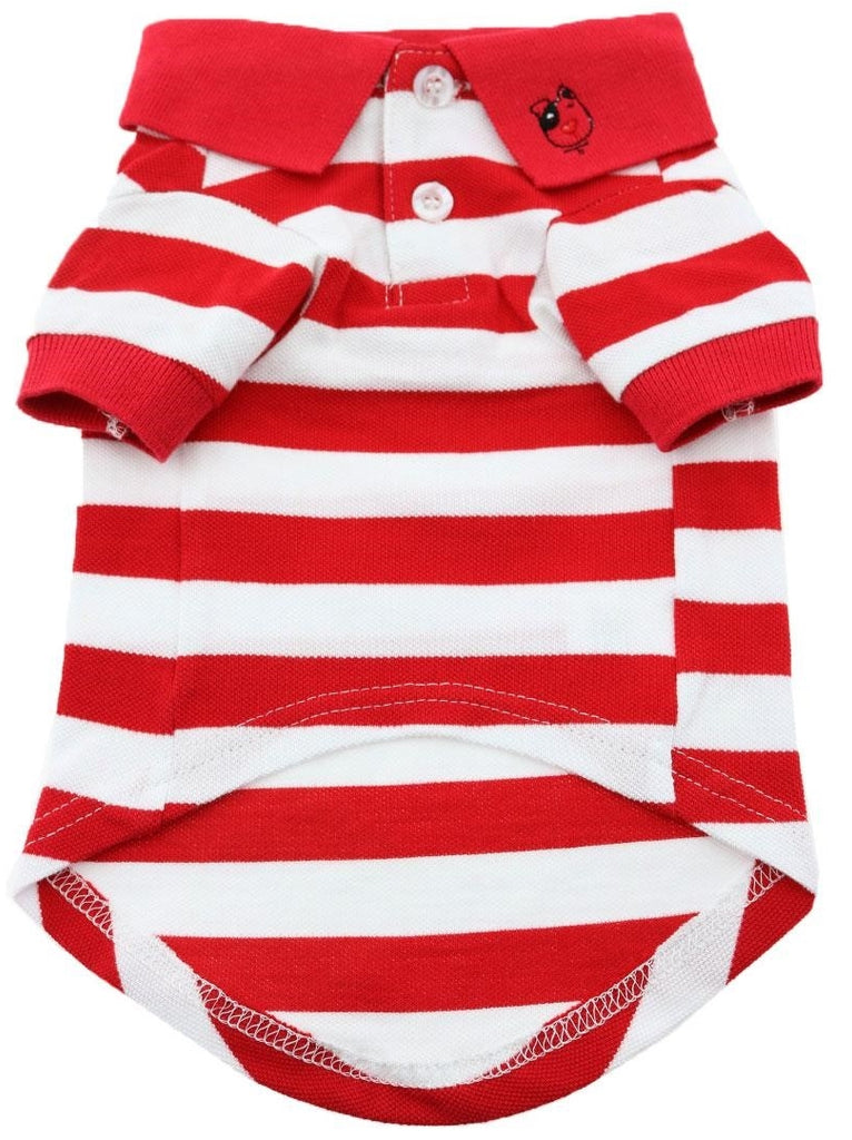 Classic Striped Polo Shirt in color Red Stripes - Daisey's Doggie Chic
