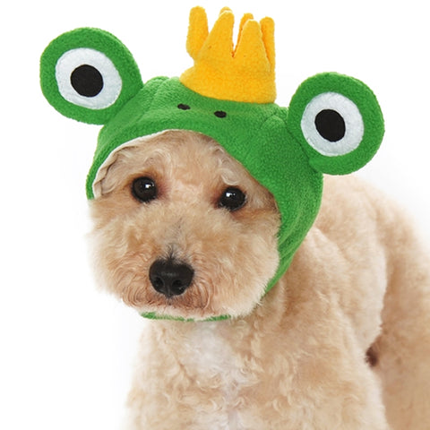 Plush Crown Prince Frog Hat for Dogs - Sizes XS to XL - Daisey's Doggie Chic