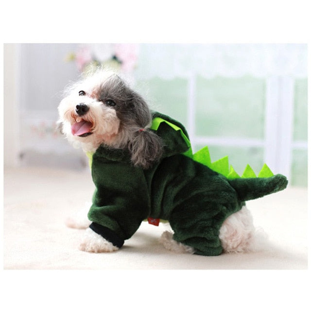 Cute Green Dragon Cartoon Character Plush Costume Pajama Coat for Dogs - Assorted Characters in 5 Sizes - Daisey's Doggie Chic