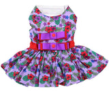 Lavender Violets Floral Party Harness Dress with Charm and matching Leash - Daisey's Doggie Chic