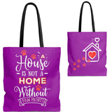 Carryall Tote Bag - House not a Home Without Paw Prints - 2-sided theme  - in Sizes S,M,L - Purple - Personalize it Free - Daisey's Doggie Chic