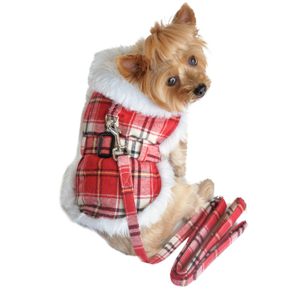 Doggie Design Wool Faxu Minky Fur Harness Jacket with Matching Leash in color Red/White Plaid - Daisey's Doggie Chic
