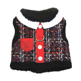 "Doggie Design ""Red 'n Black Tweed""  Plush Minky Fur Harness Vest with matching Leash - Daisey's Doggie Chic - 1"