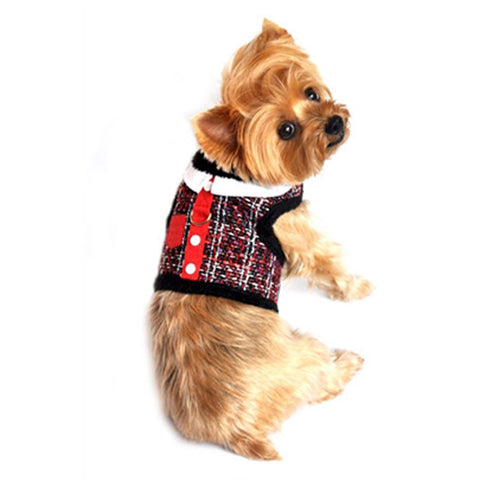 "Doggie Design ""Red 'n Black Tweed""  Plush Minky Fur Harness Vest with matching Leash - Daisey's Doggie Chic"