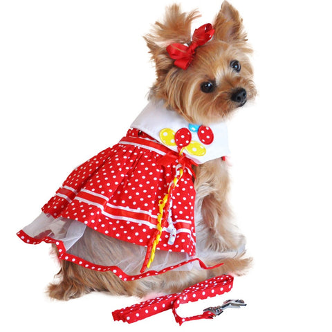 Red Polka Dots & Balloons Harness Party Dress with matching Leash - Daisey's Doggie Chic