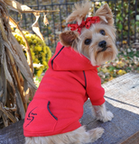 Fleece Lined Sport Sweatshirt Hoodie for Dogs in Color Bright Red - Daisey's Doggie Chic