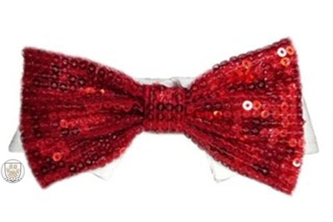 Red Sequin Holiday Bow Tie Dress-up Shirt Collar - Daisey's Doggie Chic