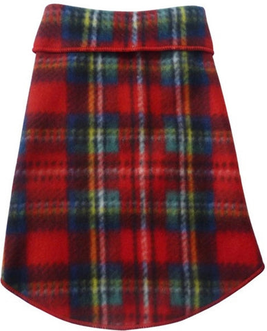 Cozy Classic Holiday Plaid Fleece Pullover Tank - in Red Tartan Plaid - Daisey's Doggie Chic