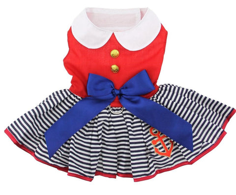 Sailor Themed Party Dress with Charm and matching Leash - Red White and Blue Nautical Stripe - Daisey's Doggie Chic