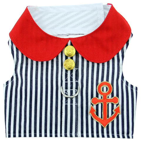 Sailor Harness Vest with Charm and matching Leash - Red White and Blue Nautical Stripe - Daisey's Doggie Chic