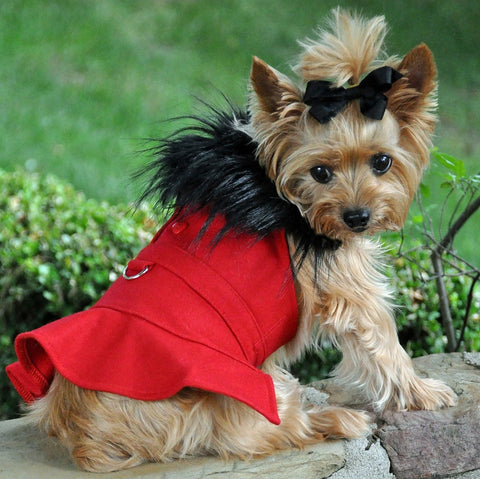 Classic Red Wool & Minky Fur Harness Jacket with Matching Leash - Daisey's Doggie Chic