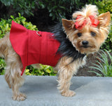 Classic Red Wool & Faux Minky Fur Harness Jacket with Matching Leash - Daisey's Doggie Chic