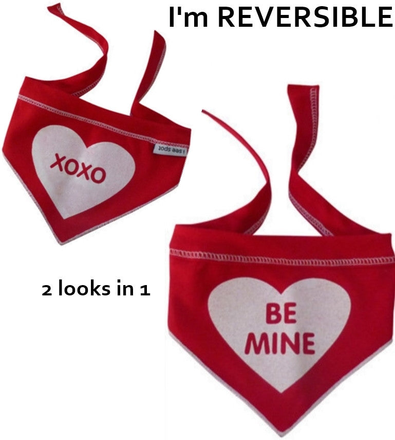 Be Mine/Hugs 'n Kisses Reversible Valentine Bandana Scarf in color Red - Daisey's Doggie Chic - 1