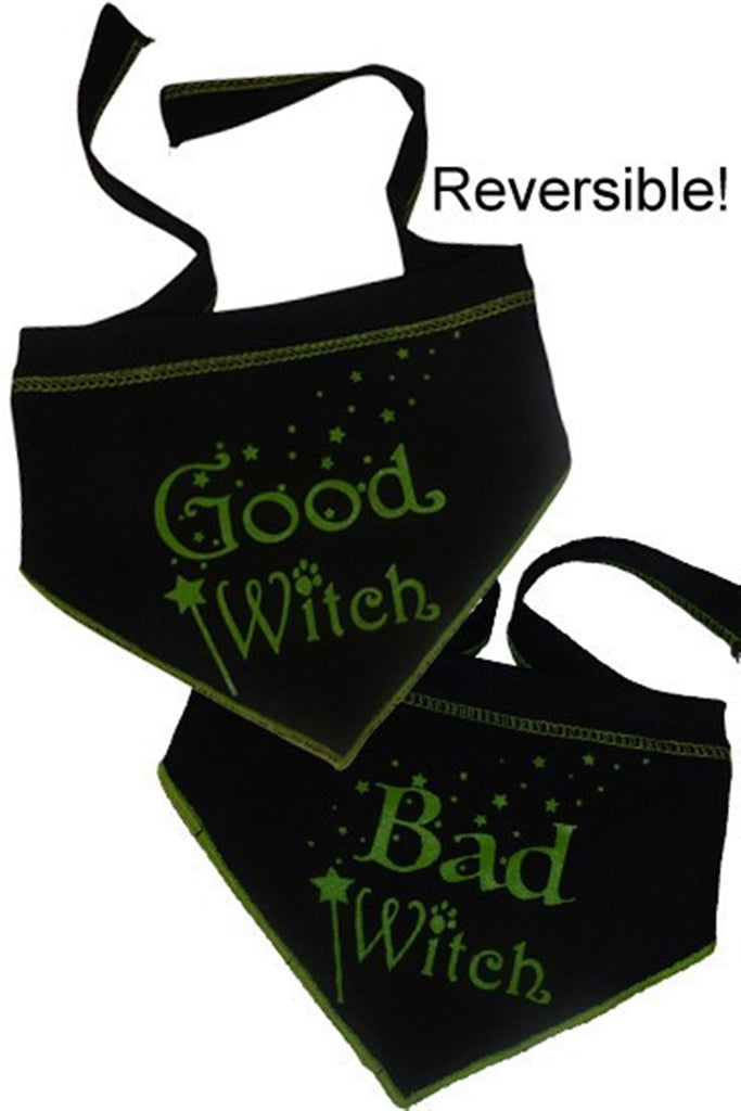 Good Witch Bad Witch Reversible Scarf in color Black/Green - Daisey's Doggie Chic - 1