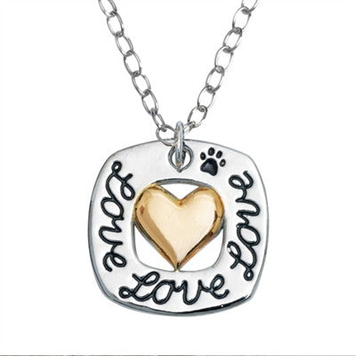 "Rockin' Doggie 2-Tone Love Square Heart Pendant on 20"" Curb Chain - Daisey's Doggie Chic"