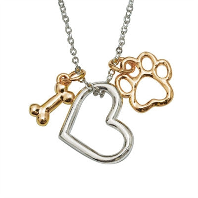"Rockin' Doggie Bone/Heart/Paw Charms Pendant on 18"" Curb Chain - Daisey's Doggie Chic"