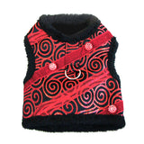 Doggie Design Ruby Black Brocade Jeweled Plush Faux Fur Harness Vest with matching Leash - Daisey's Doggie Chic