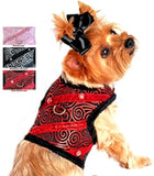 Doggie Design Brocade Jeweled Plush Minky Fur Harness Vest with matching Leash - 3 colors - Daisey's Doggie Chic - 1