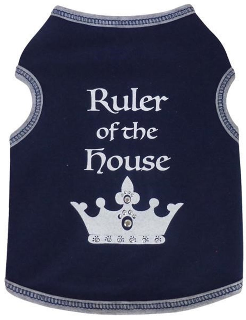 Ruler of the House Jeweled Crown Tank Top in  Choice of 2 colors Navy Blue or Pink - Daisey's Doggie Chic