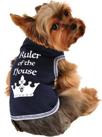 Ruler of The House Dog's Tank Top in color Navy - Daisey's Doggie Chic