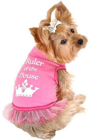 Ruler of The House Dog's Ruffled Tank Top in color Pink - Daisey's Doggie Chic