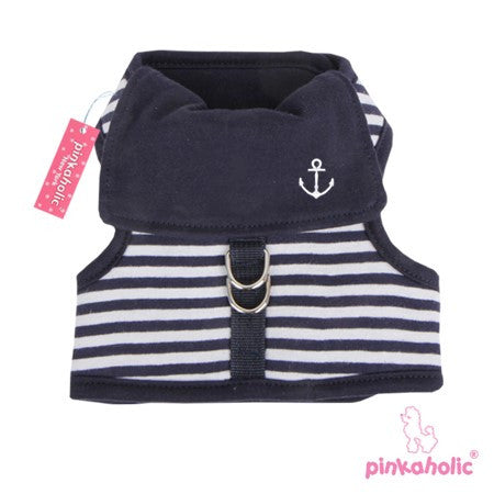 "Pinkaholic NY ""Sailor Pinkaharness""  Wrap-around-Velcro Nautical Harness Vest in Navy Stripe - Daisey's Doggie Chic - 1"