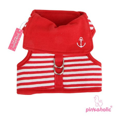 "Pinkaholic NY ""Sailor Pinkaharness""  Wrap-around-Velcro Nautical Harness Vest in Red Stripe - Daisey's Doggie Chic - 1"