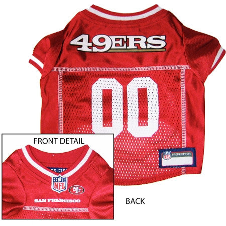 San Francisco 49ers NFL dog Jersey in color Red - Daisey's Doggie Chic - 1