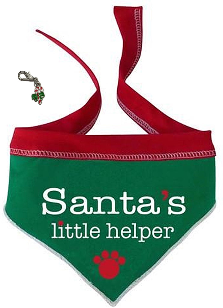 Santa's Little Helper Holiday Scarf in color Red/Green - Comes with Candy Cane Charm - Daisey's Doggie Chic