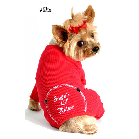 Santa's Little Helper Thermal Long John Pajamas in color Red - Daisey's Doggie Chic - 1
