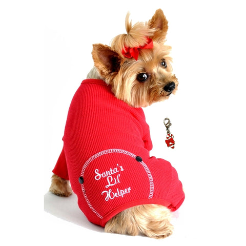 Santa's Little Helper Red Thermal Long John Pajamas with Candy Cane Charm - Daisey's Doggie Chic