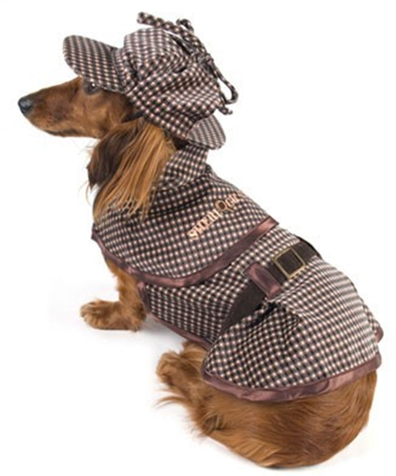 209754ce800 Deluxe Sherlock Bones (Holmes) Tweed Costume Coat with Hat - Daisey s Doggie  Chic
