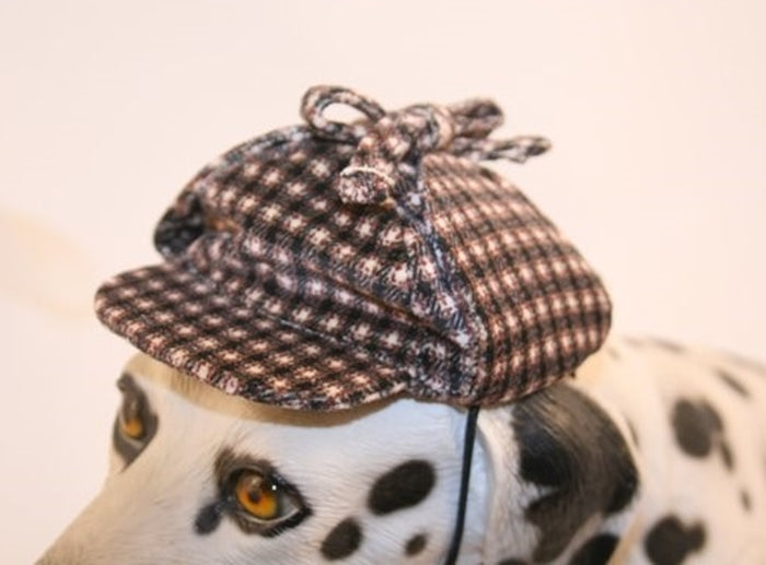 Sherlock Bones (Holmes) Tweed Cap for Dogs - Daisey's Doggie Chic