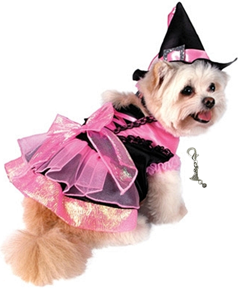 Shiny Pink Witch Dog Costume with Jewel Buckled Hat comes with  Witch Themed Charm - Daisey's Doggie Chic