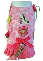 Shop 'til You Drop Harness Vest with Leash in Pink Multi - Daisey's Doggie Chic