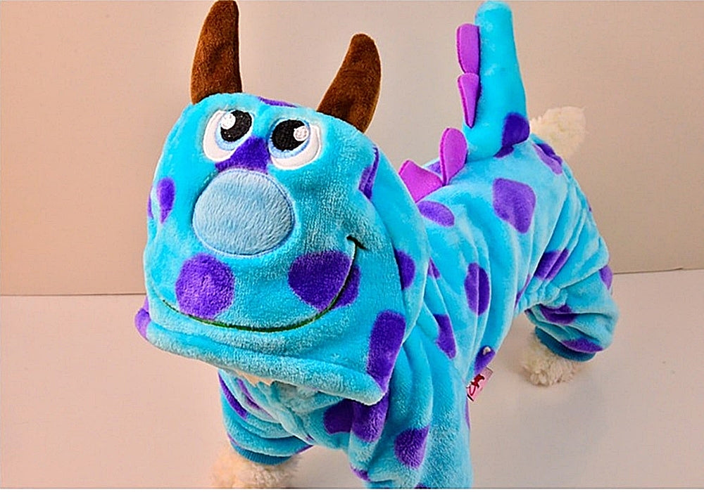 Cute Plush Sully Monster Costume Pajama Coat for Dogs - Color Blue Purple Polka Dot in 5 Sizes - Daisey's Doggie Chic