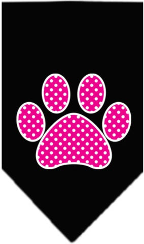 Pink Swiss Dotted Paw Bandana Scarf in color in color Black - Daisey's Doggie Chic